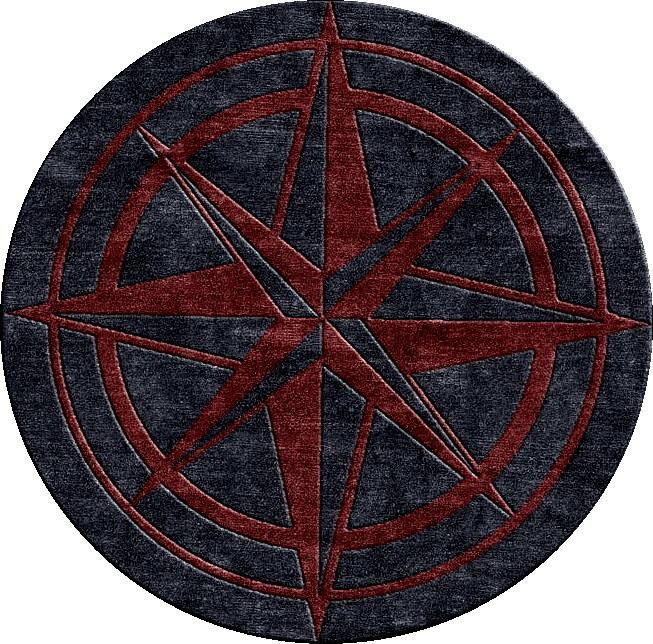 Nautical Compass Rose Rug: Custom Hand Knotted Area Rugs For Luxury Hospitality And